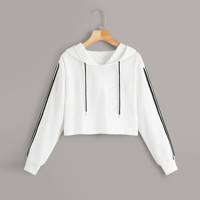 Womens crop top hoodie Letter Long Sleeve Splice Pullover Hooded Sweatshirt Short Tops Blouse korean style women sudaderas mujer