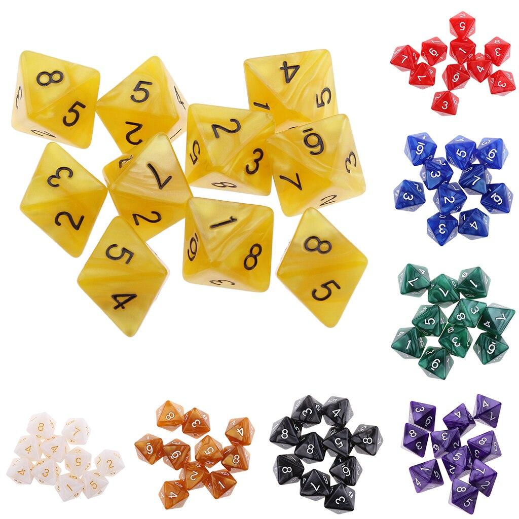 10 шт. 8 кубика D8 многогранные кубики для вечерние настольные игры игральная кость вечеринок по случаю Дня рождения Настольная игра|Кубики|   | АлиЭкспресс