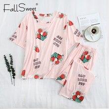 FallSweet artı boyutu pijama kadınlar için sevimli karikatür baskı pijama Set kısa kollu gecelik 4XL