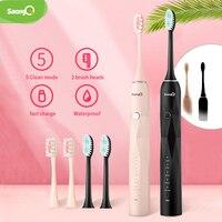 Saengq escova de dentes elétrica recarregável usb atualizado adulto à prova dwaterproof água branqueamento ultra sônica escova de dentes automática|Escovas de dente elétricas| |  -