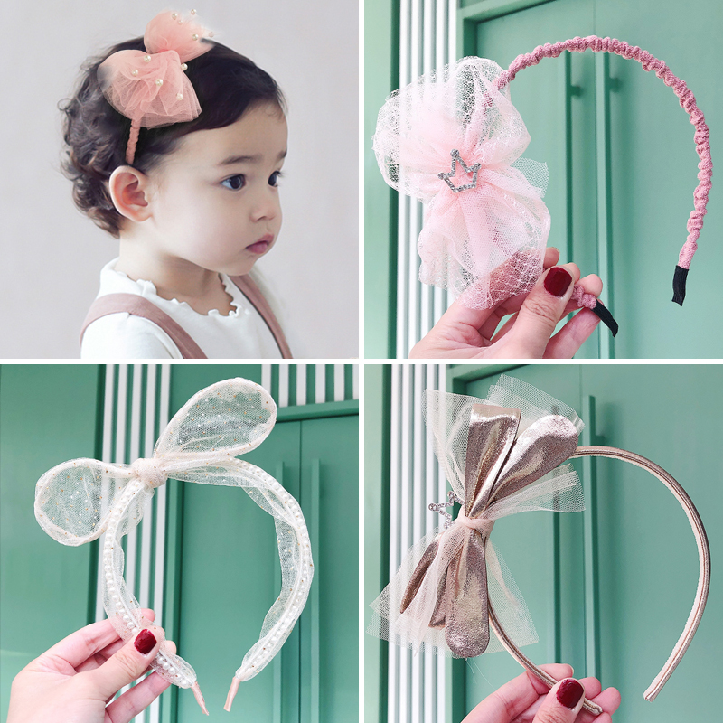 2020 Raindo New Girls Cute Pearl Mesh Bow Crown Headbands Children Lovely Soft Hairbands Headwear Kids Sweet Hair Accessories