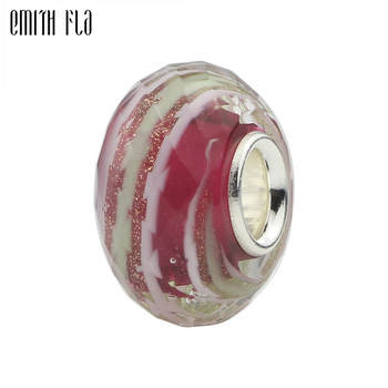 925 Sterling Silver Red Faceted Murano Glass Bead Charms Fit For European Original Bracelet & Necklace DIY Jewelry Makings