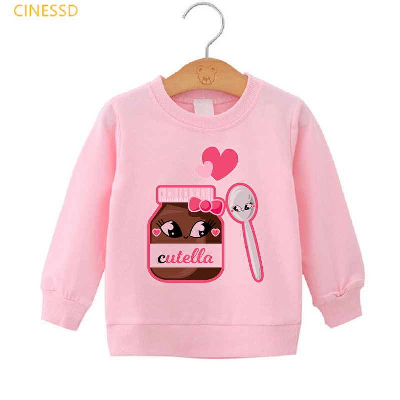 Купить милые nutella графический розовый просторные толстовки для девочек