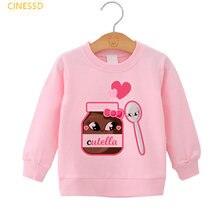 Милые nutella Графический розовый просторные толстовки для девочек