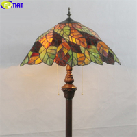 FUMAT Tiffany Style Floor Lamp Bule Green Fallen Leaves Stained Glass Dragonfly Rose Classical Lighting Decoration Art Lights Floor Lamps     -