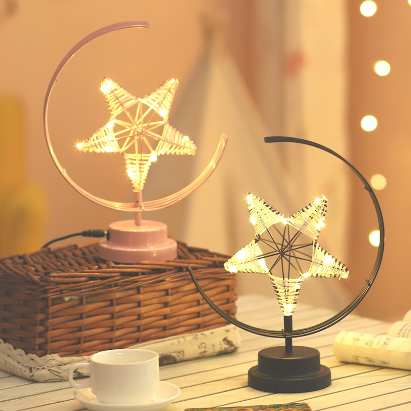Creative LED Table Lamp Handmade Modeling Lights Star Shape Christmas Wrought Iron Woven Night Light Room Gift Party Decor Light