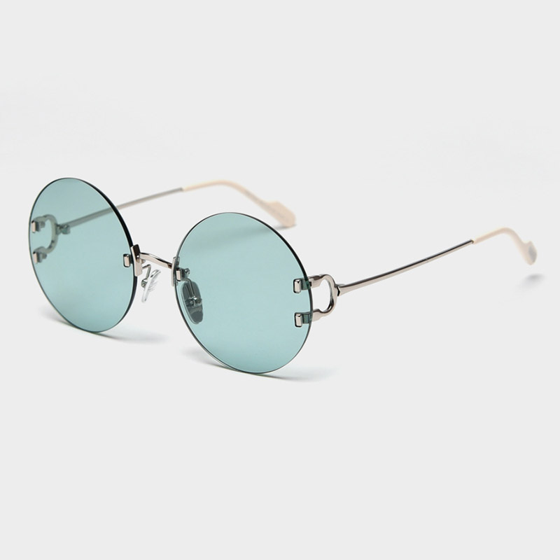 Polarized Rimless Sunglasses Women 2020 Luxury Vintage Round Sun Glasses Retro Pink Sunglass Woman Shades for Women UV400 Gafas