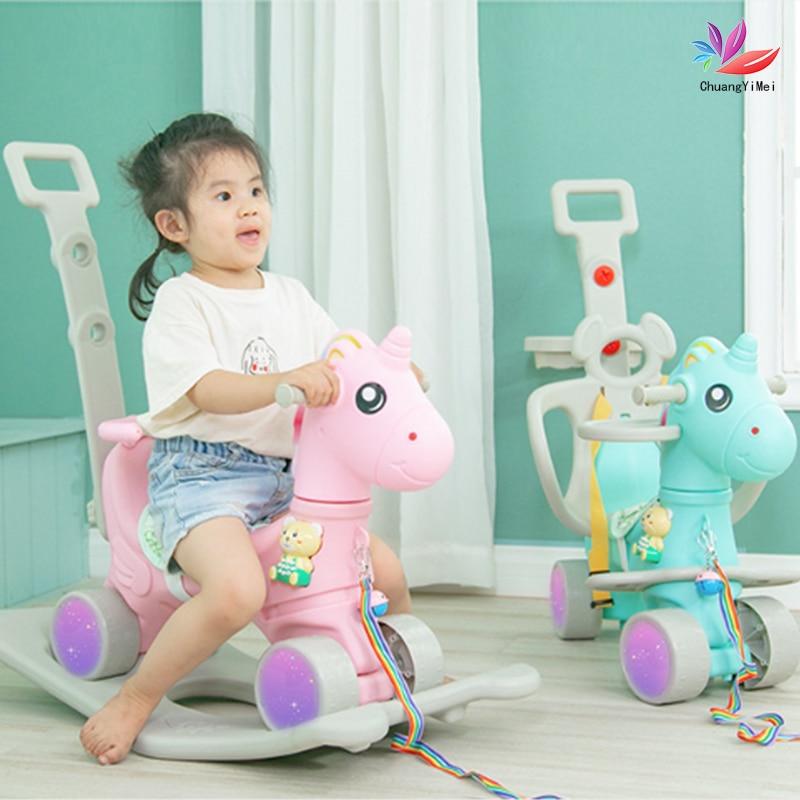 Baby Shining 2 In 1 Kids Horse Stroller Children Rocking Chair Riding Horse Nursery Toddler Playroom Baby Rocker Kids Ride Toy