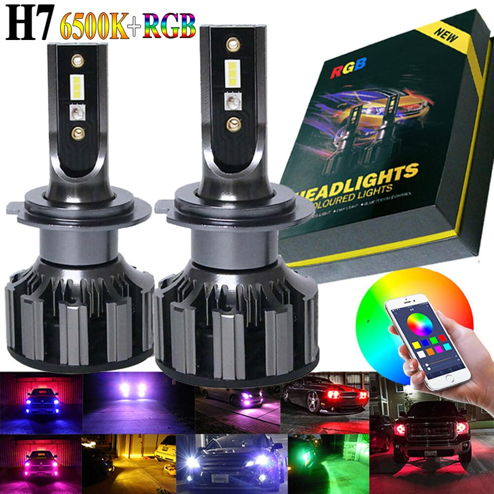 SALE 2PCS H7 8000LM 6500K IP67 80W 12V/24V Car LED RGB Headlight Kit APP Bluetooth Intelligent Control Fog Lights Bulbs Lamp image