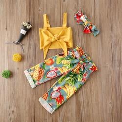 Детская одежда для маленьких девочек, летние Праздничные комплекты с принтом фруктов, 3 шт., Детский жилет с бантом для девочек, Длинные кост...