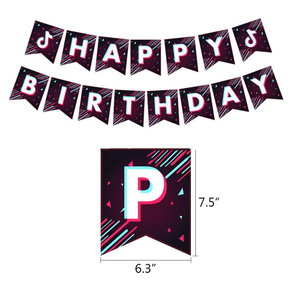 Тик тема фольгированные шары в виде скрипичного ключа, латексные воздушные шары с днем рождения баннер украшение для вечеринки вентиляторы для танцевальной вечеринки телефон блоки игрушки-1