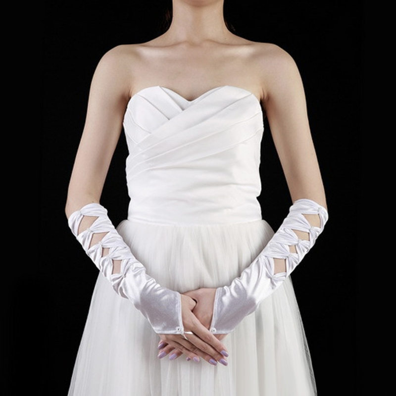 Women Hollow Fingerless Bridal Gloves Elbow Length Beaded Bow Wedding Prom Party
