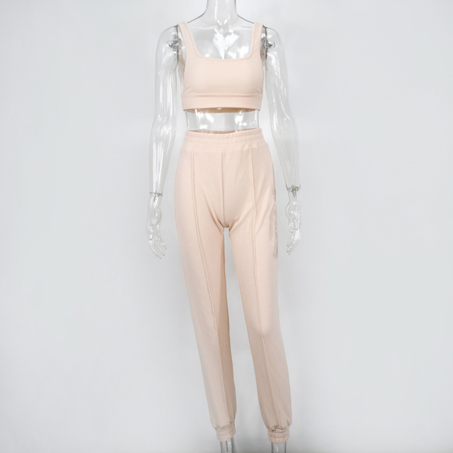 White Ribbed Two Piece Outfits Crop Top Long Pants Plus Size Casual Matching Sets