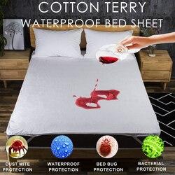 Lfh algodão terry folha de cama à prova dwaterproof água para colchão almofada & topper com banda protetor cama protetor colchão à prova dbug água cama bug