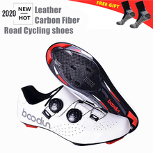Boodun Carbon Fiber New Road cycling shoes Leather ultralight Self-Locking Shoes professional racing road bike bicycle sneakers
