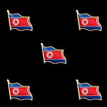 5 uds Corea del Norte de la República de la Segunda Guerra Mundial chapados en oro ondeando nación Pin para solapa con insignia W Blanco/0,75