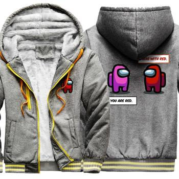 Game Impostor Among Us Thicken Wool Liner Hoodie Men Jacket Zipper Tracksuits Man Winter Hooded Patchwork Warm Moletom Masculino 1