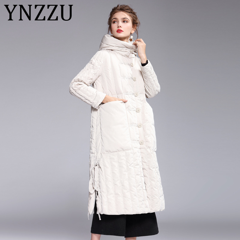 YNZZZU 2019 New Winter Elegant Women's   Down   Jacket Long with Hooded Windproof 90% White Duck   Down     Coat   Ladies Split Jacket A1144