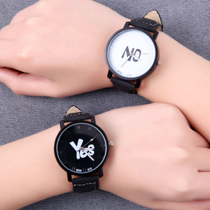 Fashion Student  Watch 9-18 Years Old Children Sports Wristwatch Black White Dial Leather Band Wristwatch Kids Clock Hour C244