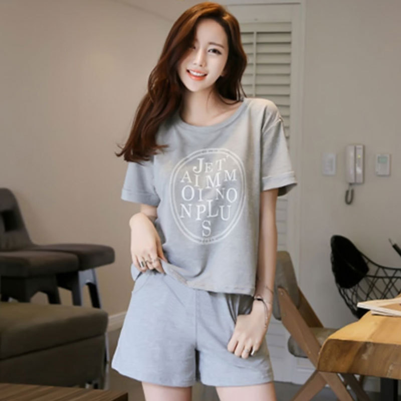 Casual Sports Gray Circle Pajamas WOMEN'S Short Sleeved Shorts Summer Thin Section Tracksuit Women's Large Size Set