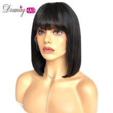 Wig Human-Hair Lace-Frontal Brazilian Hair-Wig Bangs Pre-Plucked Straight 4x4 with Baby