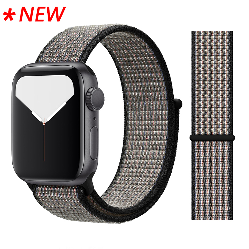 Для наручных часов Apple Watch, версии 3/2/1 38 мм 42 мм нейлон мягкий дышащий нейлон для наручных часов iWatch, сменный ремешок спортивный бесшовный series4/5 40 мм 44 мм - Цвет ремешка: 53 Lava Glow