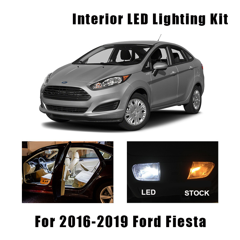 8pcs White LED Interior Light Ceiling Bulbs Kit Fit For Ford Fiesta 2016 2017 2018 2019 Map Dome Cargo License Plate Lamp