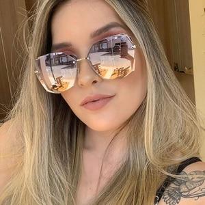 Cuting Rimless Cat Eye Sunglasses For Women 2020 New Fashion Polygon Gradient Female Sun Glasses Uv400 Goggle Oculos Feminino