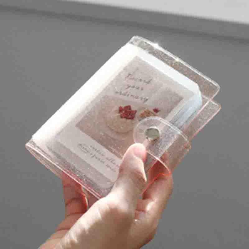 Album Photo couleur gelée pour Mini carte Photo autocollant Album Mini Album Photo Photos Album Instax porte-carte paillettes transparentes