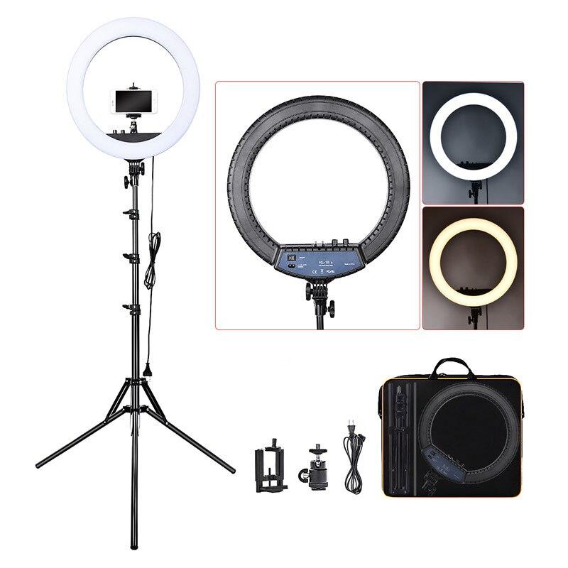 Fosoto RL-18II iluminação fotográfica 3200 k-5600 k 512 led anel lâmpada pode ser escurecido câmera photo studio telefone anel de maquiagem luz tripé