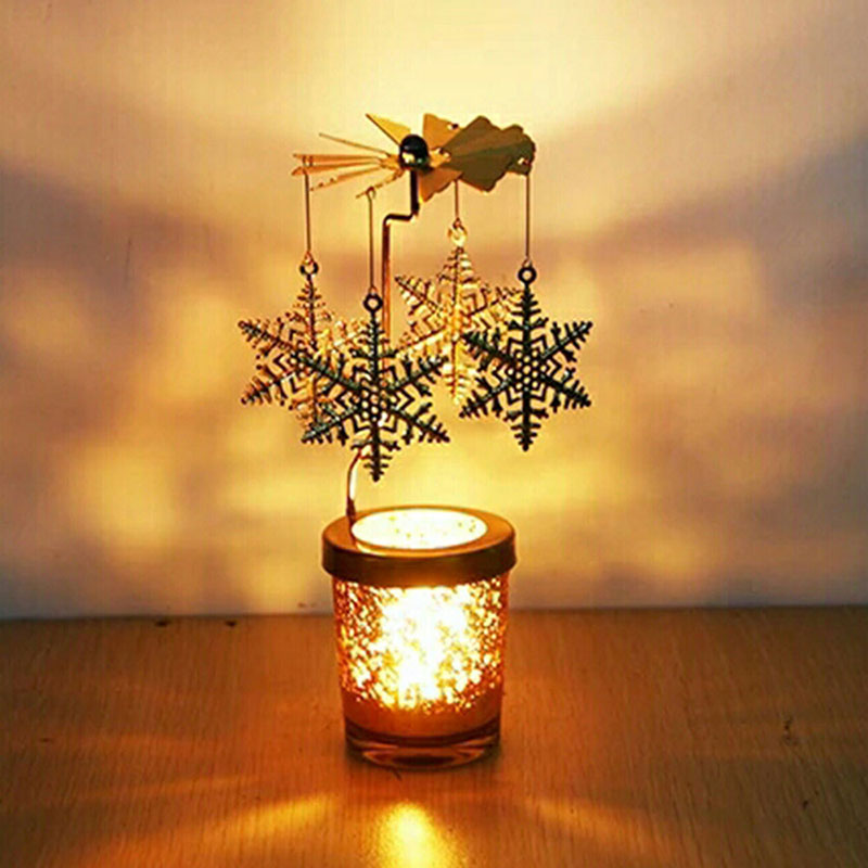 Candlestick Metal deer Party Romantic Windmill Candle Holders Hanging Tealight Rotate Wedding Home Decor Christmas Xmas Gift image