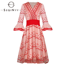 SEQINYY Vintage Dress 2020 Summer New Fashion Design Women Mesh Flower Embroidery Lace Flare Sleeve V-Neck Knee-length Dresses