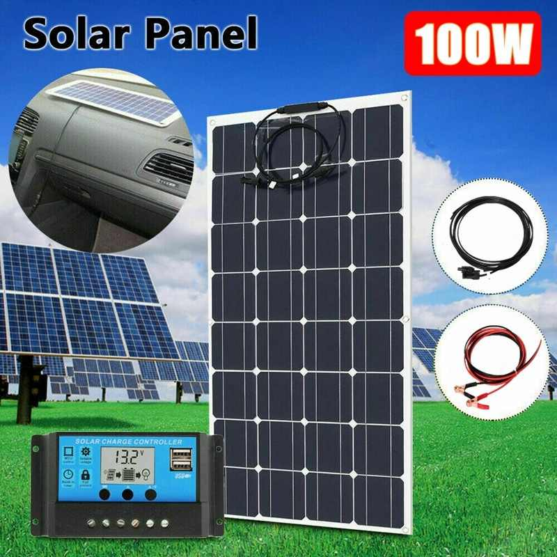 100W 16V Bendable Flexible Solar Panel Charger Monocrystalline Panel with 20A controller kit Battery/Module/System/Home/Boat