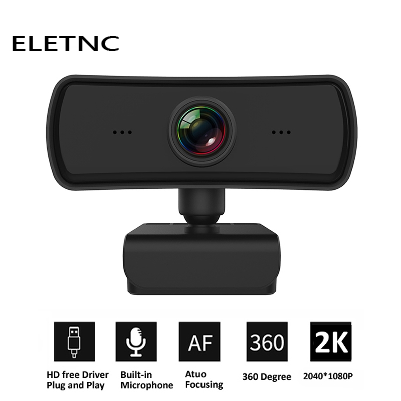 Webcam 2K 2040*1080P HD Computer PC Web Cam With Microphone USB Plug And Play Video Call Laptop Gamer Webcast Live Mini Camera