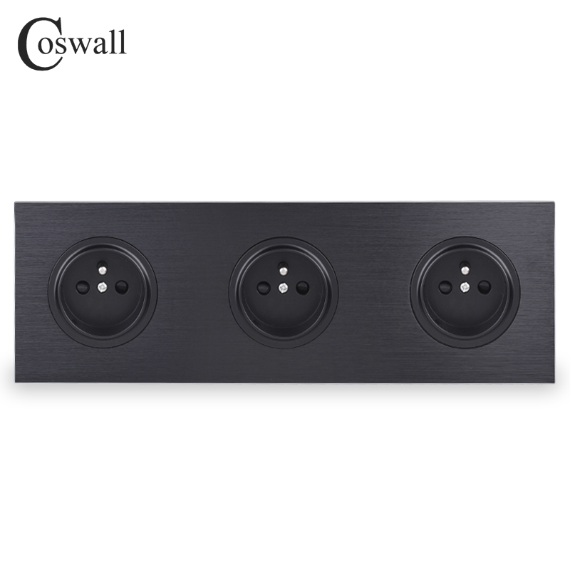Coswall Luxurious Black Aluminum Panel 16A Triple French Standard Wall Power Socket Grounded With Child Protective Lock