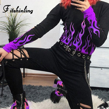 Fitshinling Flame Print Goth Dark T-Shirts For Women Autumn Winter Long Sleeve Crop Top Grunge Harajuku Female T-Shirt Black New