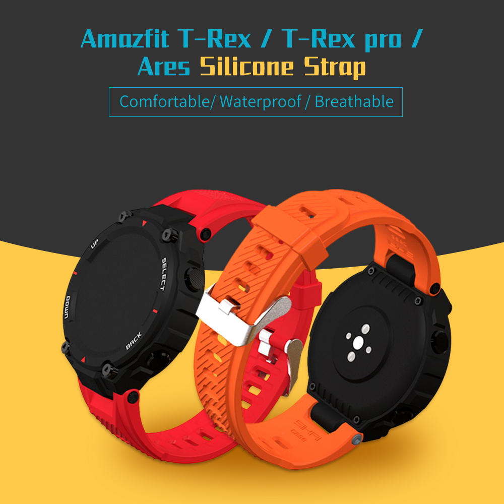 SIKAI Soft Silicone Watch Band For Amazfit T-Rex Pro Smartwatch Colorful Watch Strap For Amazfit Ares T-Rex Smart Watch