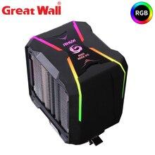 Великая стена в RGB 4-контактный процессорный кулер компьютер радиатор для Intel в исполнении LGA 1150 1151 1155 1156 поддержка процессоров LGA775 радиатор аура синхронизации воздуха