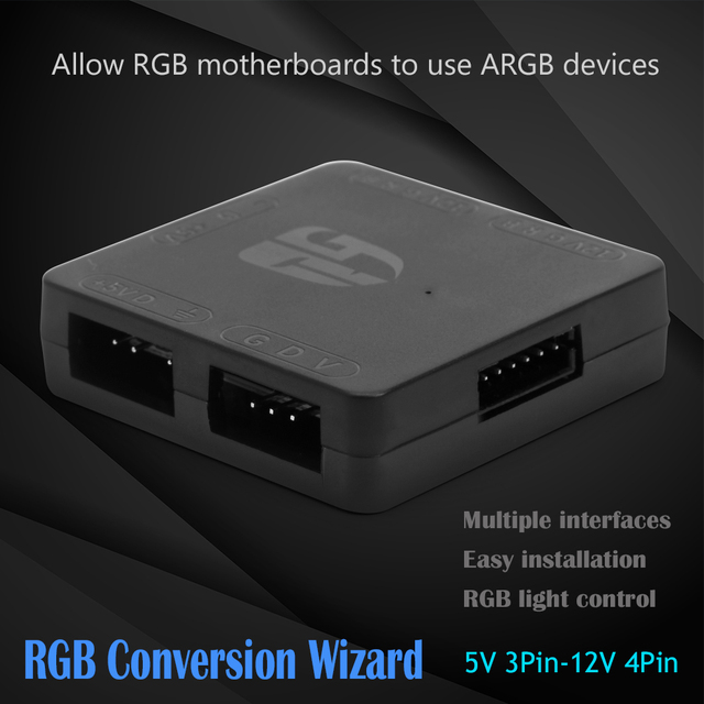 Compact Portable Carry Convenient Computer 5V 3 Pin to 12V 4 Pin RGB Converter PC 5V to 12V Motherboard RGB HUB 2