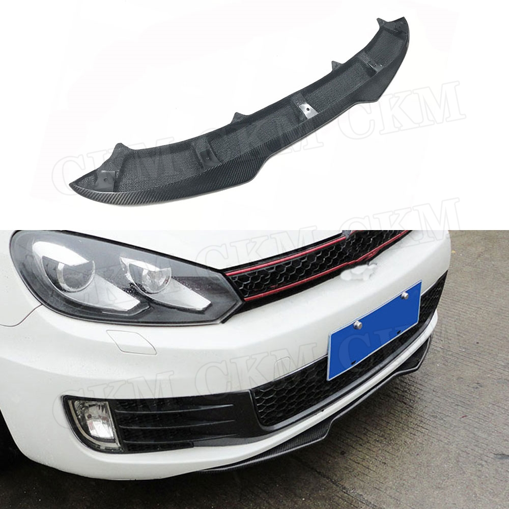 For Volkswagen VW Golf6 GTI MK6 Carbon Fiber Front Bumper Lip 2010-2013