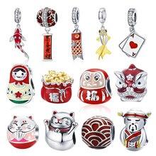 Китайский новый год красный DIY бисер BISAER 925 пробы Серебряный фонарь мышь кои серебряные подвески бусины подходят Pandora оригинальный браслет