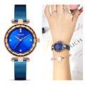 MEGIR новые роскошные женские часы латунный корпус стальной сетчатый Ремешок Модные женские часы для любителей наручных часов для девочек ча...