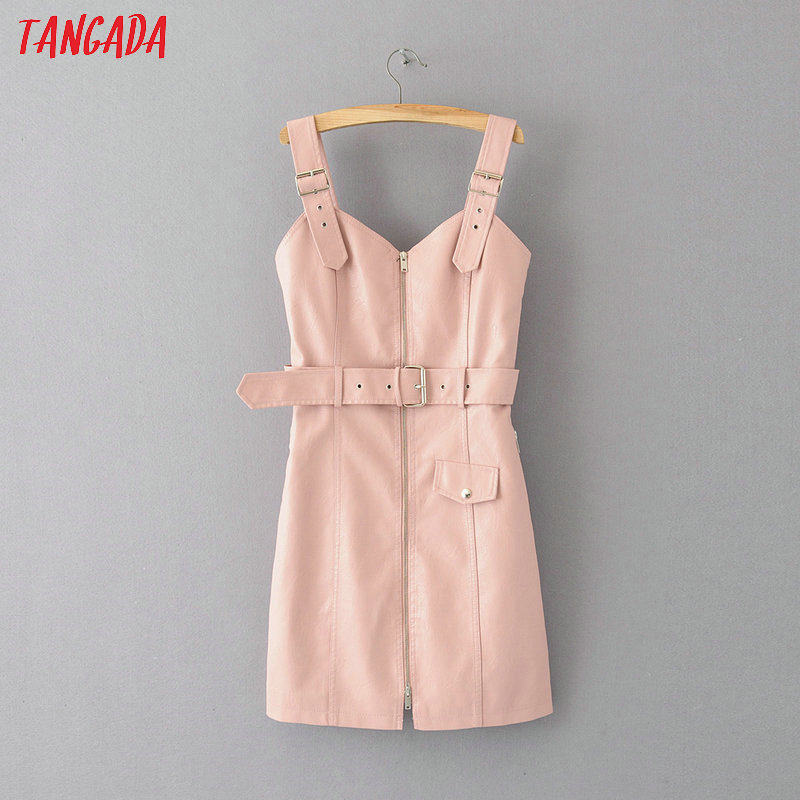 Women Sleeveless PU Faux Leather Dresses Autumn Winter 2019 Adjust Strap Zipper Female Pink Short Dress With Slash AM05