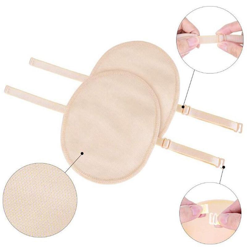 1Pair Nude Cotton Reusable Washable Underarm Sweat Shield Pad Washable Armpit Sweat Absorbing Guards Shoulder Strap