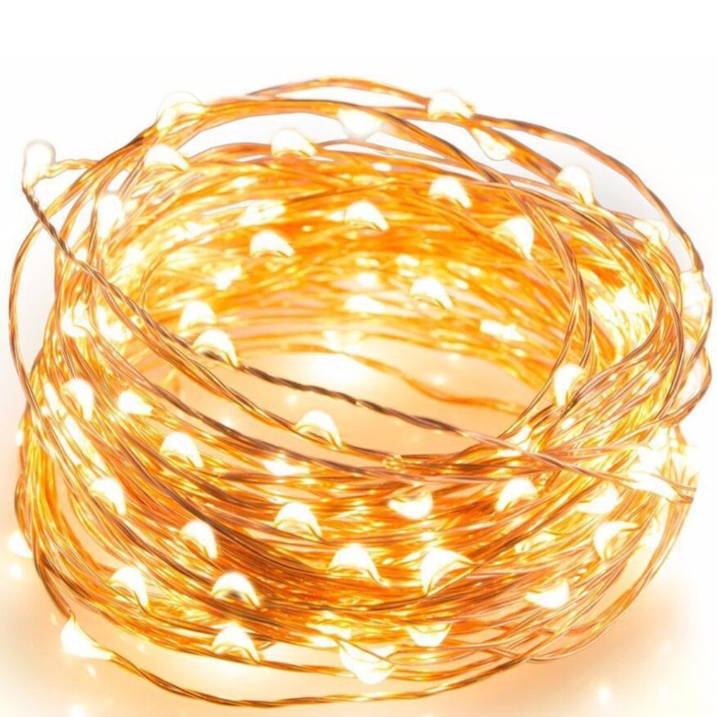Outdoor Solar Copper Wire Button Copper Wire Lamp String Bedroom Room Creative Light String Waterproof Decorative Light