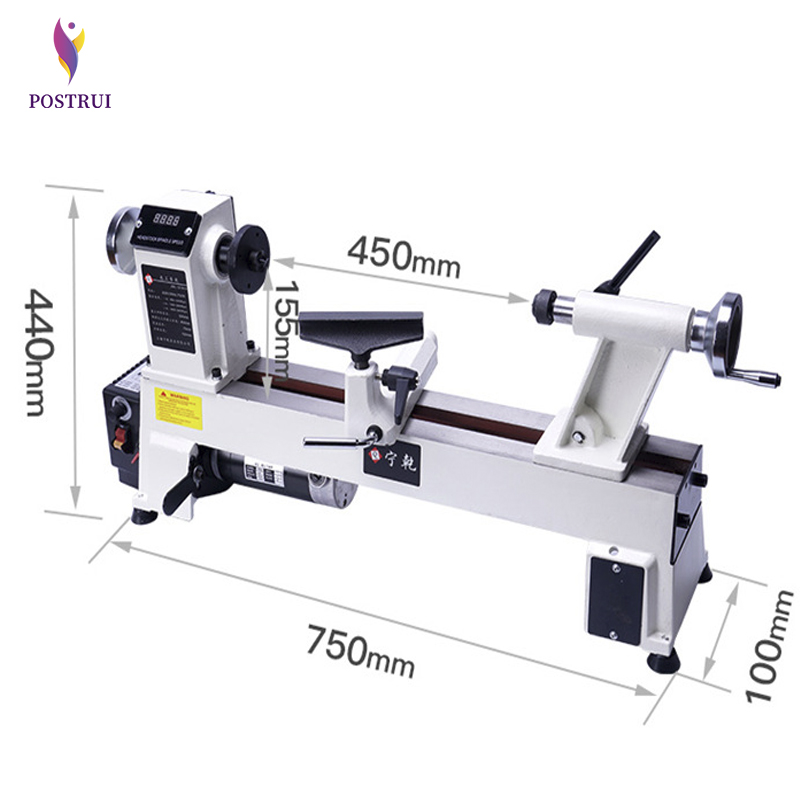 50W 4-inch Chuck Variable Speed Mini Wood Lathe Machine Tools Woodworking With Digital Display
