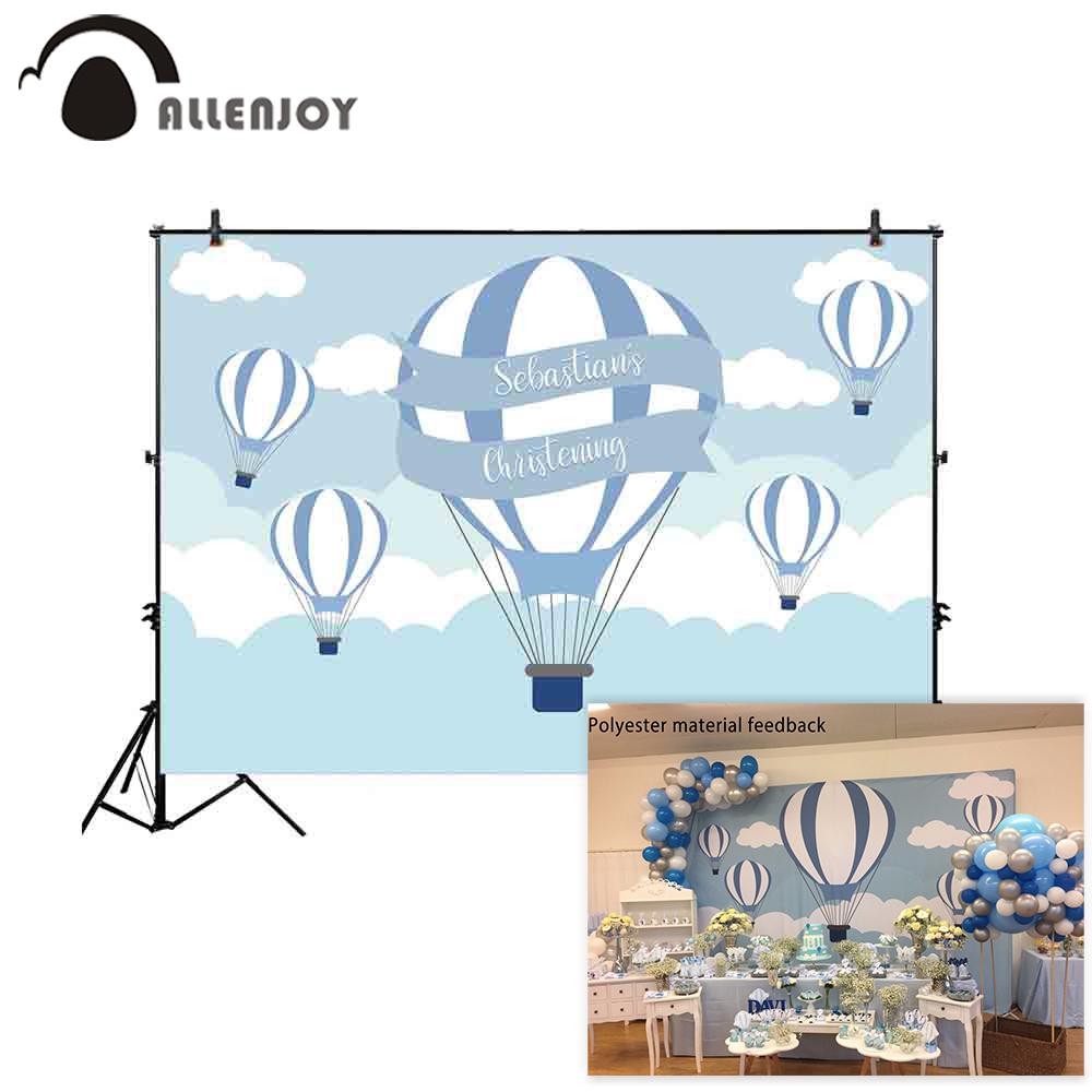 Allenjoy Birthday Baptism Photocall Blue Hot Air Balloons Ribbon Sky Christening Party Wallpaper Newborn Baby Shower Backdrops
