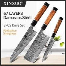XINZUO-Juego de cuchillos de cocina de Chef, utensilios de utilidad, Manual forjado, VG10, acero de Damasco, acero inoxidable, regalo para picar carne, 3 uds.
