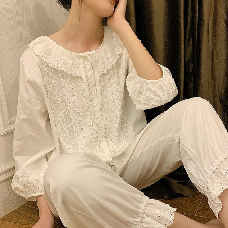 Fashion Soft Pure Cotton Women's Casual White Floral Pajamas Sets Female Loose Cute Sleepwear  Plus Size