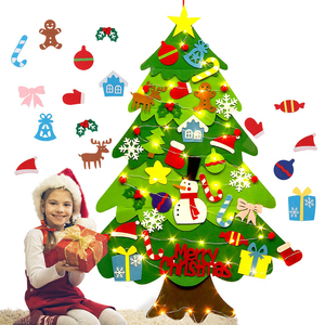 Felt Christmas Tree DIY Soft Christmas Tree with Ornaments and String Light Christma decorations